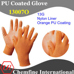 13G Orange Nylon Knitted Glove with Orange PU Smooth Coating pictures & photos