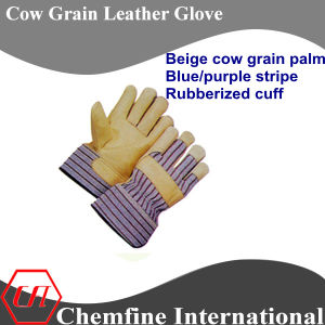 Beige Cow Grain Palm, Blue /Purple Stripe, Rubberized Cuff Leather Work Gloves pictures & photos