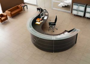 Curved Artificial Stone Reception Desk Office Front Desk Design pictures & photos