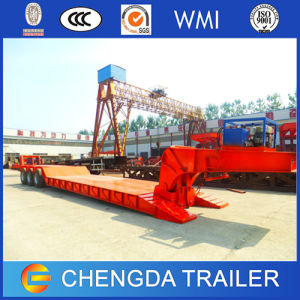 Tir Axle 60 Ton Hydraulic Low Bed Trailer with Detachable Gooseneck pictures & photos