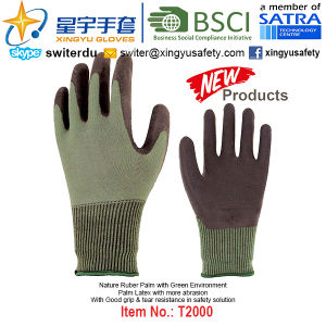 (Patent Products) Latex Coated Green Environment Gloves T2000 pictures & photos