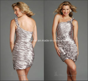 Pleats Sheath Silver One-Shoulder Prom Party Cocktail Homecoming Dresses Y1028 pictures & photos