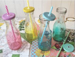 300ml High Quality Milk Bottle, Glass Juice Container, Glassware with Straw pictures & photos
