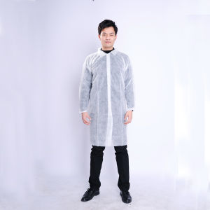 White Disposable Nonwoven Lab Coat Visit Gown Daily Use pictures & photos