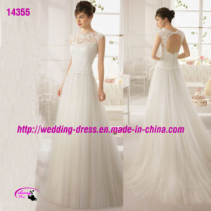Cap Sleeve White Tulle Lace Wedding Dress with Hole Back pictures & photos