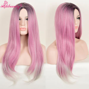 Medium Size Pink Straight Synthetic Wig Fashion Natural Hair pictures & photos