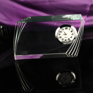 Simple Design Square Crystal Clock with Logo pictures & photos