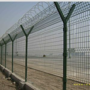 Galvanized +PVC Coated Welded Airport Fence with Barbed Wire