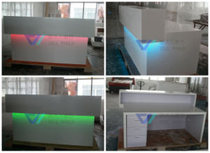 White Reception Desk, LED Office Front Counter pictures & photos