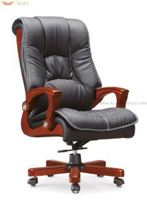 Luxuary High Back Leather Boss Multifunctional Luxury Executive Chair with Wooden Armrest pictures & photos