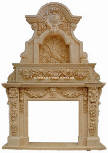 Stone Carving Wall Fireplace Mantel (XF-2024) pictures & photos