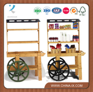 Wooden Vendor Cart with 3 Shelves pictures & photos