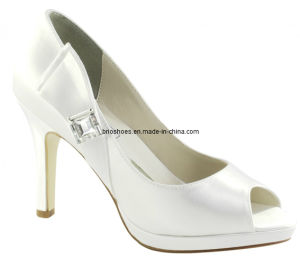 Beautiful White Bridal High Heel Pumps with Peeptoes