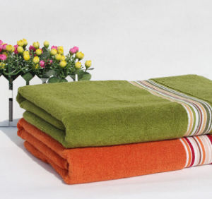 100% Cotton Solid Color Satin Band Bath Towel