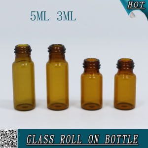 3ml Round Amber Glass Roll on Steel Ball Bottle with Plastic Cap 5ml pictures & photos