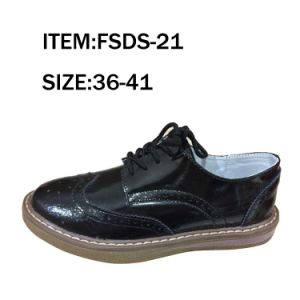 Black Cow Leather Leisure Lady Shoes Dress Shoes pictures & photos