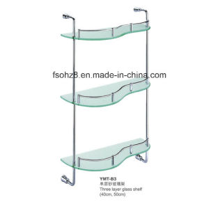 Modern 3 Tiers Bathroom Rack Stainless Steel Glass Shelf (YMT-B3) pictures & photos