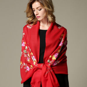 Black Embroidered Wool Scarf for Women Red