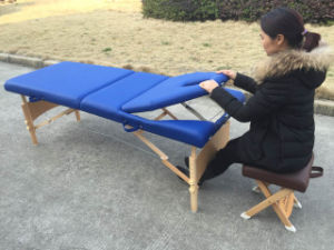 Wooden Portable Massage Table with Adjustable Backrest Mt-009B pictures & photos