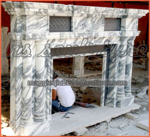 White Carrara Marble Fireplace Mantel Mf1707 pictures & photos