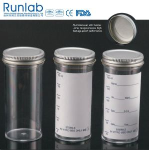 FDA Registered and CE Approved 150ml Sample Containers with Metal Cap and Printed Label pictures & photos