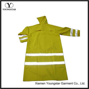 Hi Vis Long Raincoat Waterproof PVC Yellow Reflective Safety Jacket pictures & photos