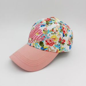 Colorful Crown Customied 3D Embroidered Pink Brim Baseball Cap for Lady pictures & photos