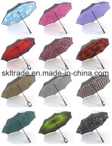 Double Canopies Portable Handsfree Straight Reverse Inverted Umbrella pictures & photos