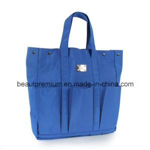 Blue Functional Handbag with Three Small Pockets on The Surface BPS044