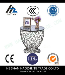Hzct108 The New Glass Top Surface Metal Feet Side Table pictures & photos