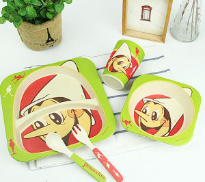 Natural Bamboo Fiber Tableware Set for Kids (YK-BS1001) pictures & photos