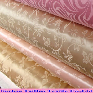 100% Polyester Jacquard Satin for Lady Dress Clothes Fabric pictures & photos