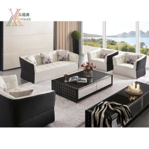 White Black Leather Sofa (1030B) pictures & photos