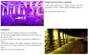 9PCS Battery Powered Wireless DMX Wall Washer Light pictures & photos