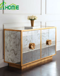 Luxury Home Decor Mirror Furniture Two Doors Glass Chest pictures & photos