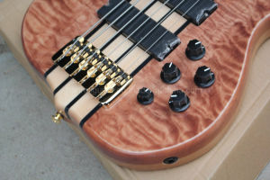 Hanhai Music/Brown 6 Strings Electric Bass with Flame Maple Veneer pictures & photos