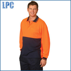 High Visibility Long Sleeve Cooldry Micro-Mesh Safety Polo Uniform pictures & photos