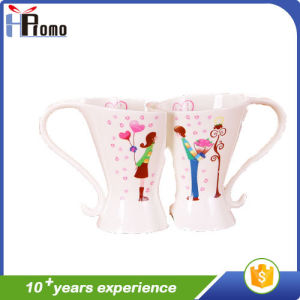 Wedding Gift Lovely Cartoon Ceramic Mug Set pictures & photos