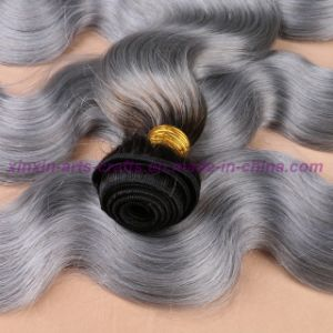 8A Grade Mongolian Grey Hair Weave Top Quality Body Wave Soft Ombre Human Hair Extensions pictures & photos