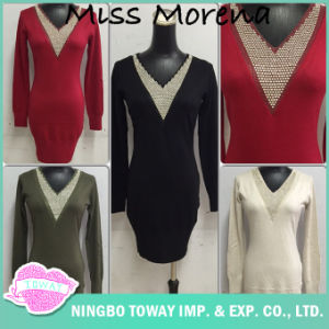 Ladies Knitwear Winter Clothing Spinning Beaded Long Sweaters for Women pictures & photos