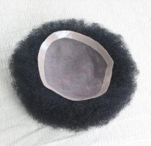 Mono Base PU Around Human Hair Men′s Toupee pictures & photos