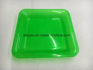 7 Inch Disposable Pet Neon Color Plastic Square Plate pictures & photos