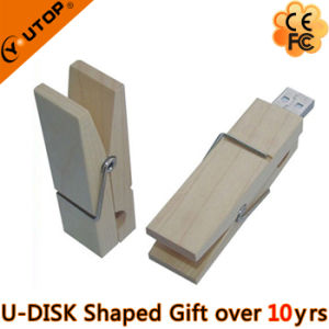 Clip Wooden USB Disk for Daily Gifts (YT-8109) pictures & photos