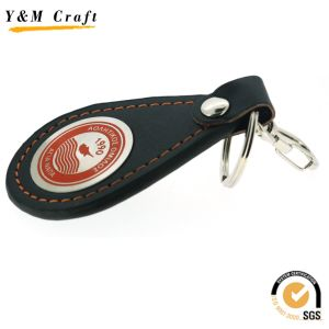 Black PU Leather Hot Press Logo Keychain Ym0881 pictures & photos