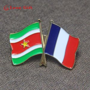 Wholesale Custom Double Flags Shaped Metal Badge Lapel Pins pictures & photos