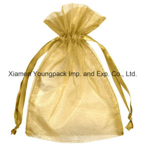 Fashion Promotional Large Gold Organza Jewellery Gift Bag pictures & photos