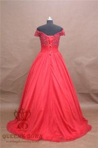 Scoop Neck Chapel Train Tulle Beading Appliques Wedding Dress pictures & photos