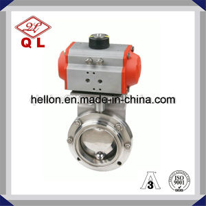 Sanitary Stainless Steel Pneumatic Actuated Butterfly Valve Weld End pictures & photos