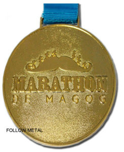 Sport Medal for Marathon with Gold Plated, Sandblast