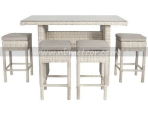 Hand Woven Garden Rattan Furniture Bar Set with Cushion for Outdoor pictures & photos